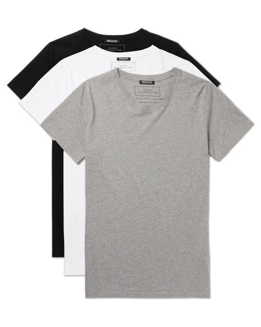 Balmain - Gray Three-pack Slim-fit Distressed Cotton-jersey T-shirts for Men - Lyst