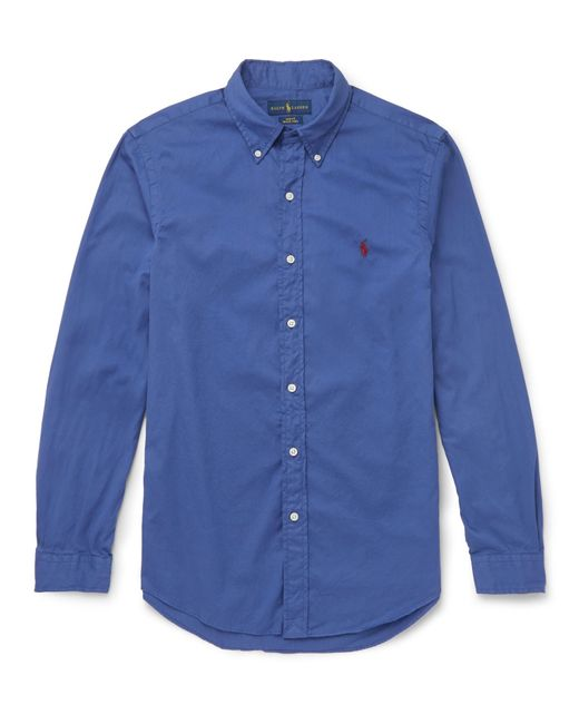 Polo Ralph Lauren | Blue Slim-fit Button-down Collar Washed-cotton Shirt for Men | Lyst