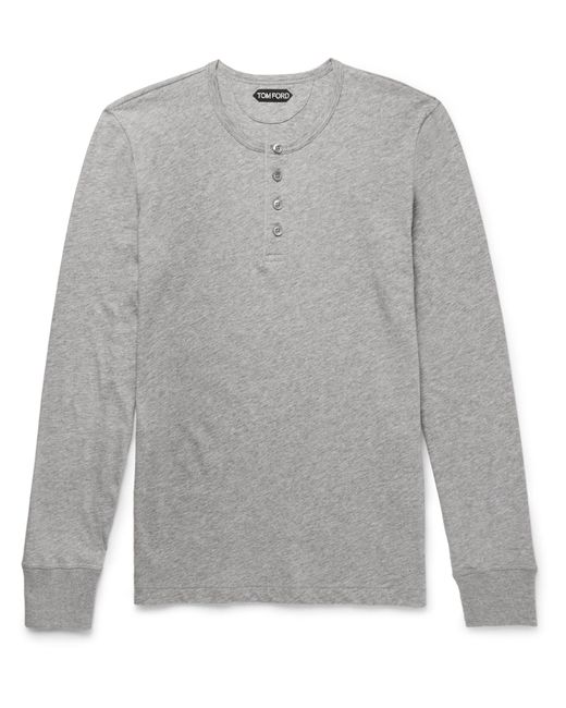 Tom Ford | Gray Slim-fit Cotton-jersey Henley T-shirt for Men | Lyst
