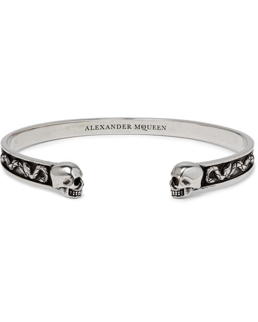 Alexander McQueen - Metallic Skull Burnished Silver-tone Cuff for Men - Lyst