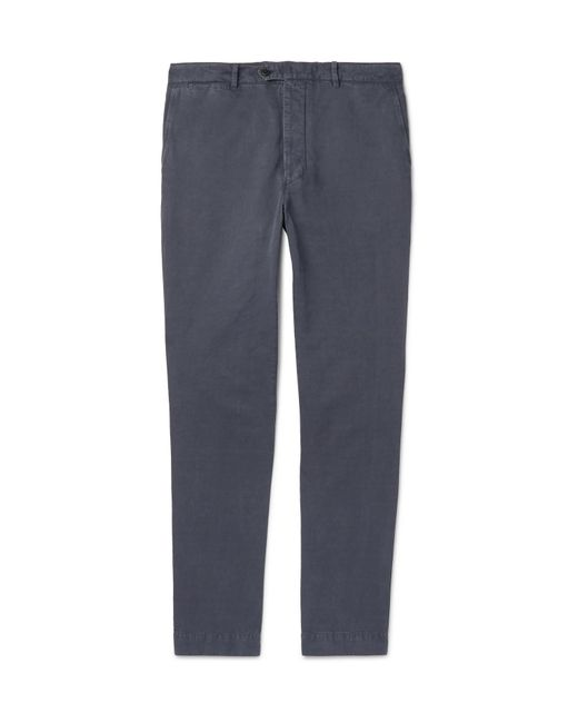 Officine Generale - Blue New Fisherman Slim-fit Garment-dyed Cotton And Linen-blend Chinos for Men - Lyst