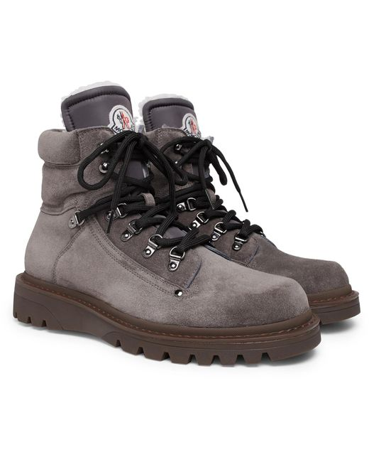 Moncler Gray Egide Shearling-lined Suede Walking Boots for men