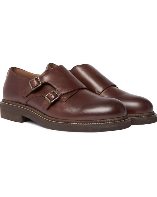Brunello Cucinelli - Brown Leather Monk-strap Shoes for Men - Lyst