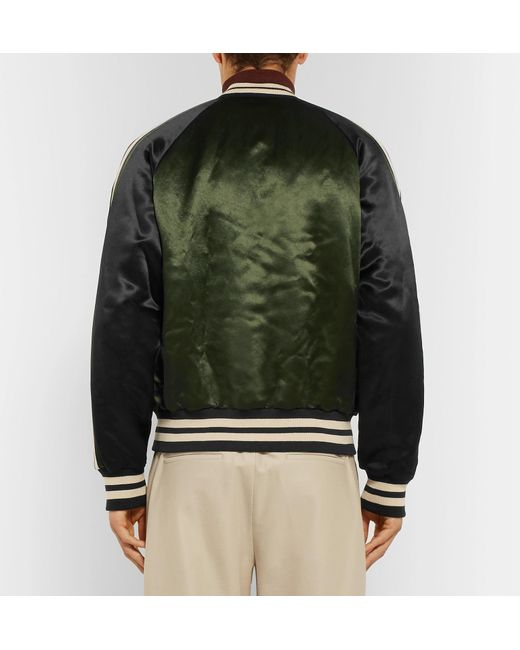 48d1e7f15be ... Gucci - Green Reversible Webbing-trimmed Satin-twill Bomber Jacket for  Men - Lyst ...