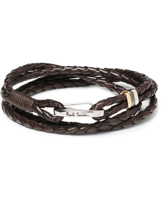 Paul Smith - Brown Woven Leather Wrap Bracelet for Men - Lyst