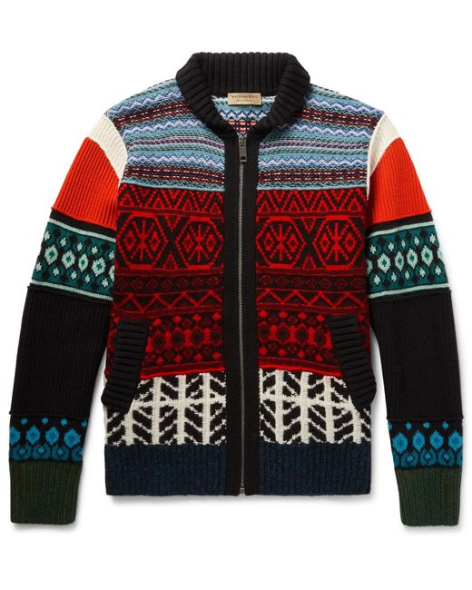 Burberry | Multicolor - Patterned Wool, Cashmere And Cotton-blend Zip-up Cardigan - Multi for Men | Lyst