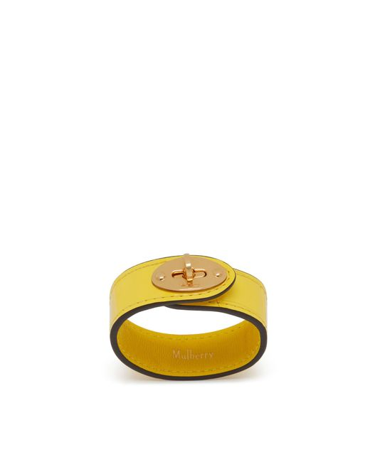 Mulberry - Bayswater Leather Bracelet In Citrus Yellow Croc Print - Lyst