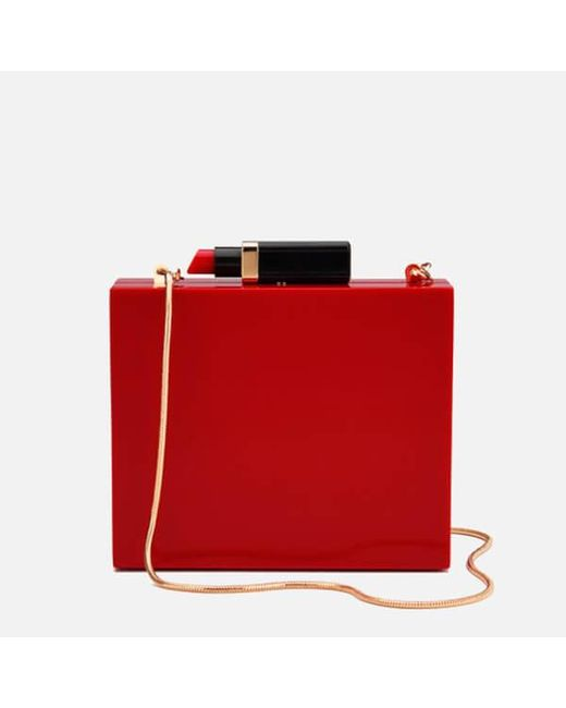 Lulu Guinness | Red Chloe Perspex Clutch Bag With Lipstick | Lyst
