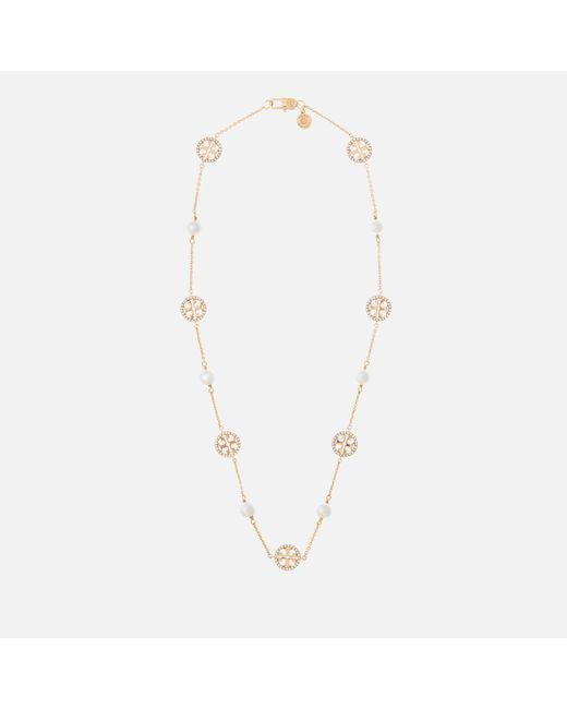 Tory Burch Metallic Crystal Pearl Logo Necklace