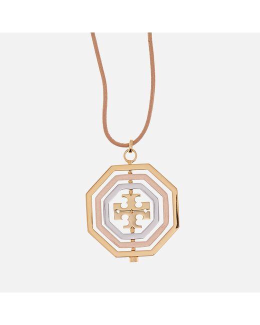 Tory Burch - Metallic Logo Spinner Pendant Necklace - Lyst