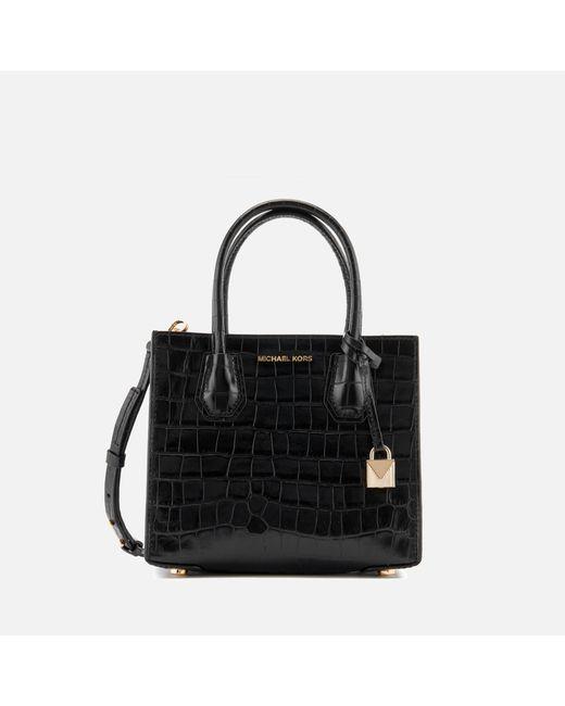 MICHAEL Michael Kors | Black Mercer Croc Medium Messenger Bag | Lyst