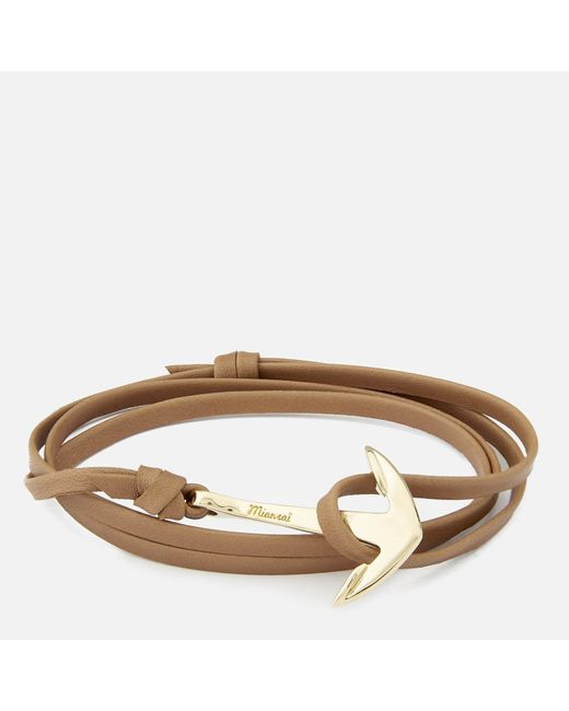 Miansai - Multicolor Leather Bracelet With Gold Anchor - Lyst