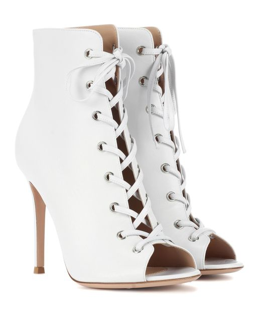 Gianvito Rossi - White Marie Peep-toe Leather Ankle Boots - Lyst