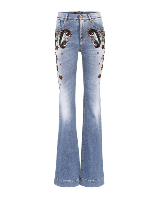 Roberto Cavalli - Blue High-Waist Jeans mit Verzierungen - Lyst
