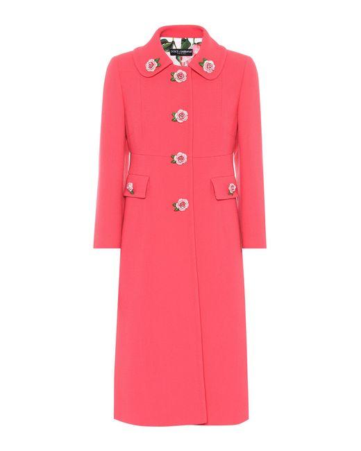 Dolce & Gabbana - Pink Embellished Wool Crêpe Coat - Lyst
