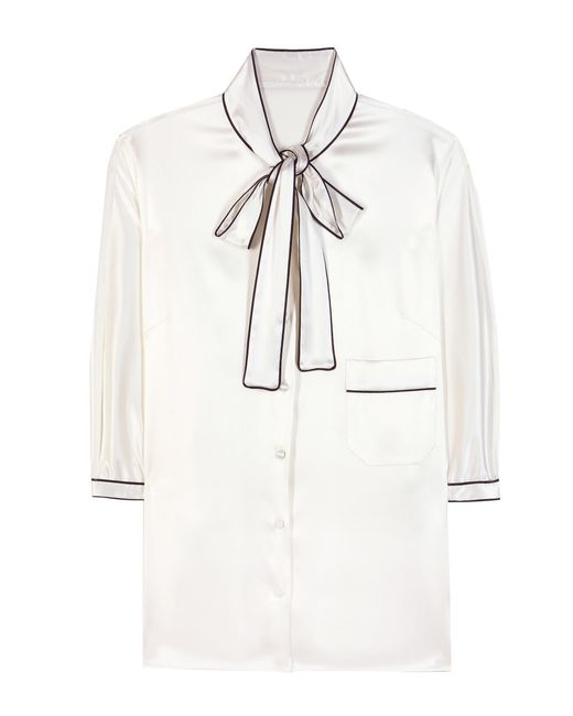Dolce & Gabbana White Furag Silk Blouse