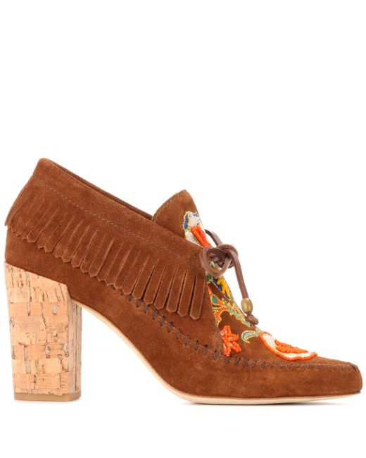 ab3a8e3d573 ... Tory Burch - Brown Huntington Fringe Suede Booties - Lyst ...