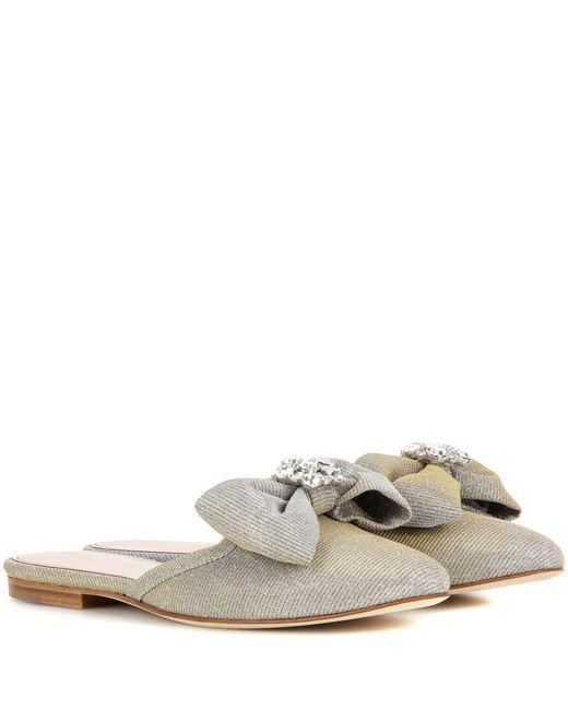 Oscar de la Renta - Metallic Embellished Slip-on Sandals - Lyst