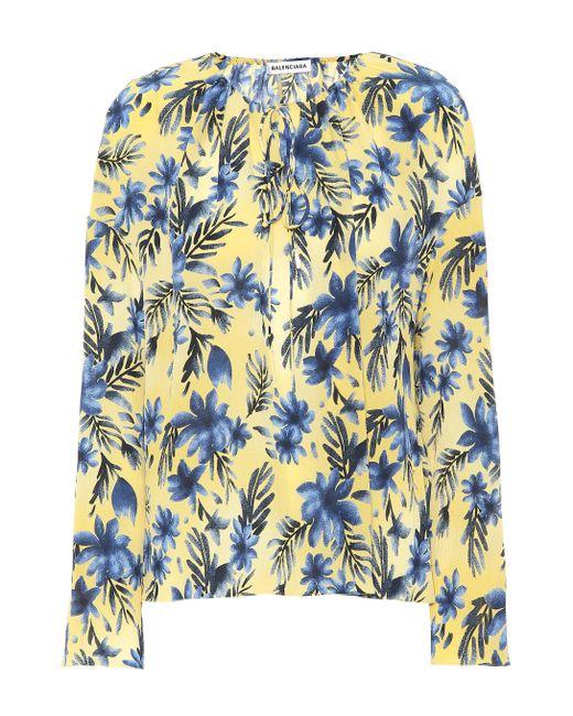 73120cf78e23 Balenciaga - Blue Floral-printed Silk Blouse - Lyst ...