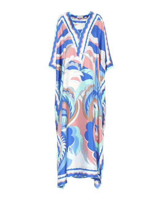 Emilio Pucci - Blue Vestido de seda estampado - Lyst
