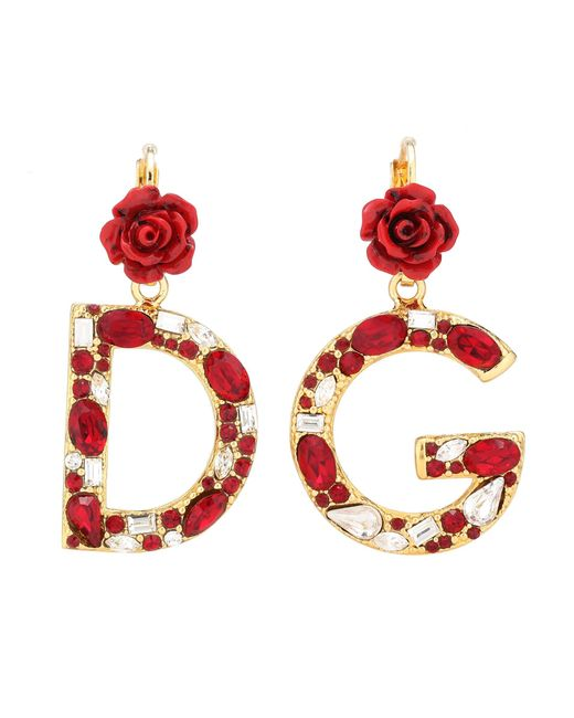 Dolce & Gabbana - Red Crystal-embellished Clip-on Earrings - Lyst