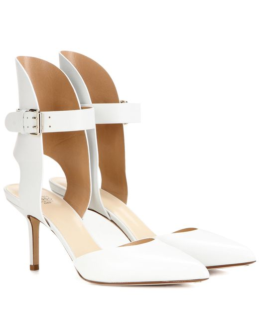 Francesco Russo - White Pointed-Toe Leather Pumps - Lyst