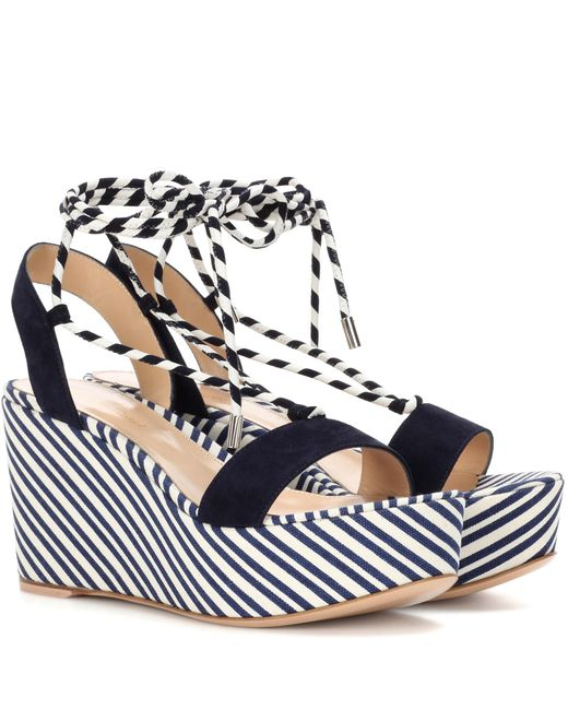 Gianvito Rossi | Blue Antibes Mid Suede Wedge Sandals | Lyst