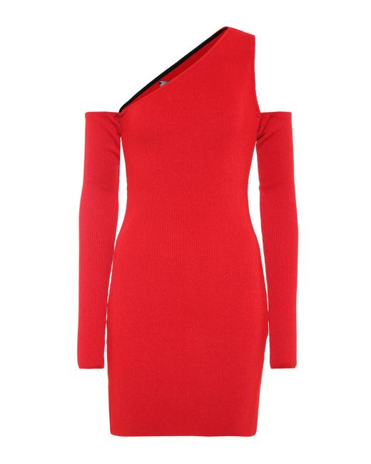 Amiri - Red Cold-shoulder Knitted Minidress - Lyst