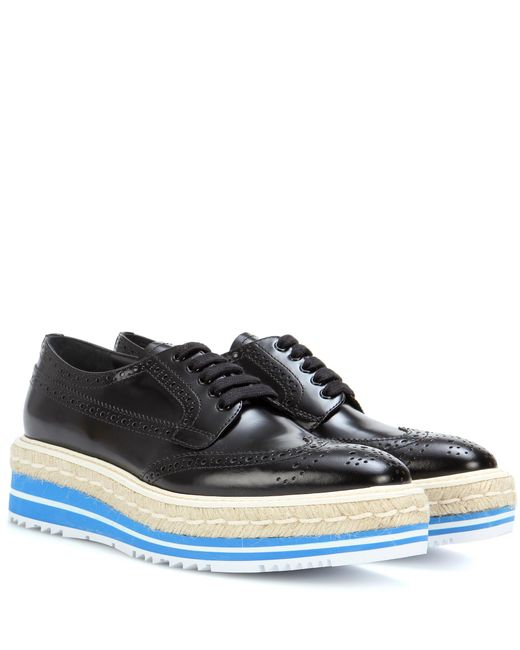 Prada - Black Wingtip Leather Brogues - Lyst