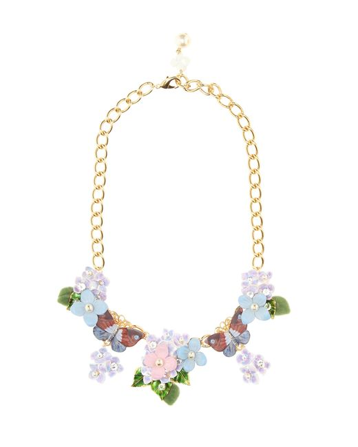 Dolce & Gabbana   Multicolor Crystal And Leather-embellished Floral Necklace   Lyst