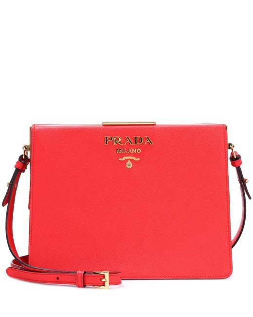Prada - Red Exclusive To Mytheresa. Com – Saffiano Leather Shoulder Bag - Lyst
