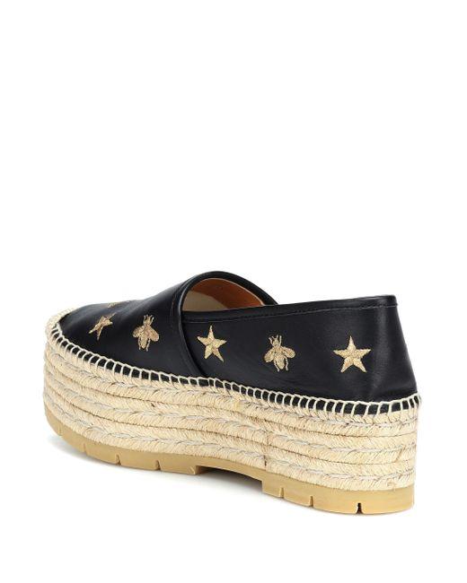 ... Gucci - Black Alpargatas con bordado de abejas y estrellas - Lyst ... 4a56fe44918