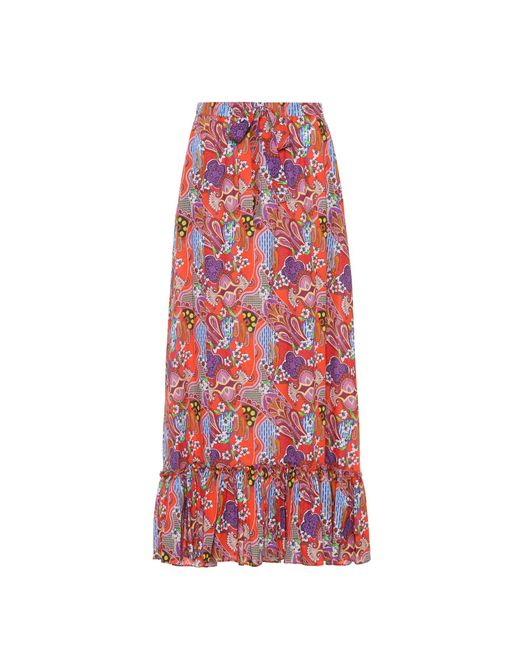 Etro - Red Printed Cotton Maxi Skirt - Lyst