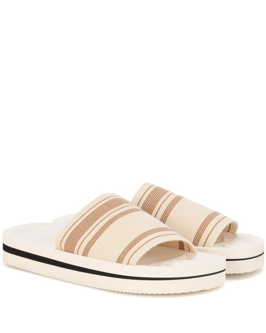 Acne - Natural Tania Printed Slip-on Sandals - Lyst