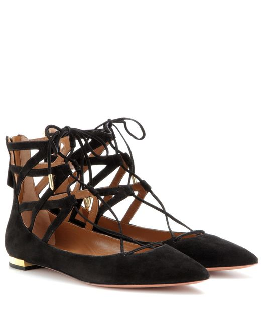 Aquazzura - Black Belgravia Flat Suede Ballerinas - Lyst