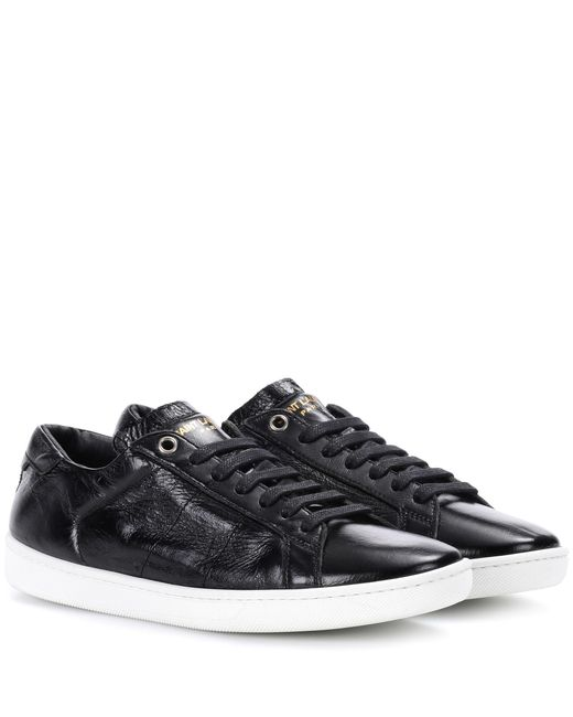Saint Laurent - Black Sl/01 Signature Court Classic Sneakers - Lyst