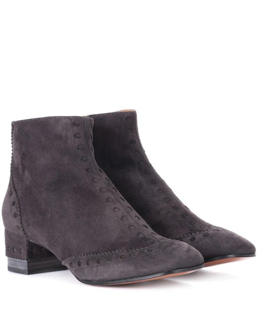 Chloé - Gray Perry Suede Ankle Boots - Lyst