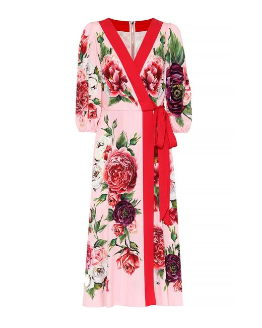 Dolce & Gabbana - Red Peony-print Silk Dress - Lyst