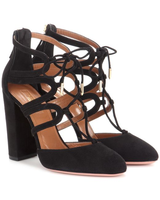 Aquazzura | Black Holli 105 Cut-out Suede Ankle Boots | Lyst