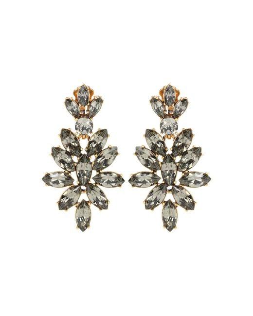 Oscar de la Renta - Gray Gold-Plated Crystal Clip Earrings - Lyst