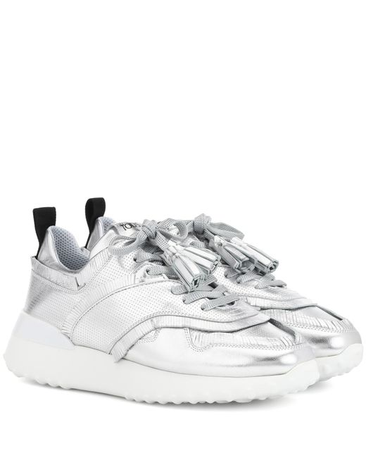 Tod's - Metallic Leather Sneakers - Lyst