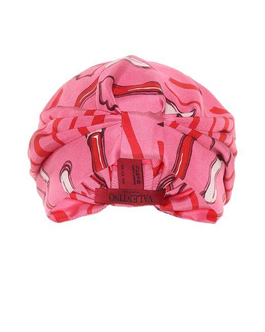 Valentino | Pink Printed Silk-satin Turban | Lyst