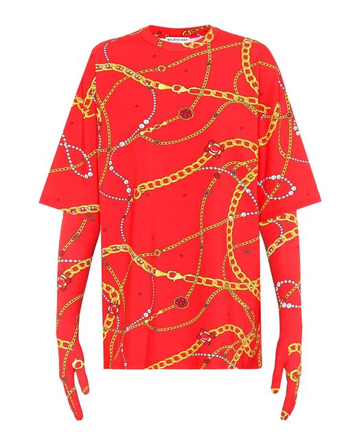 Lyst Balenciaga Printed T Shirt With Gloves In Red