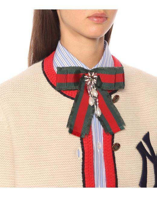 fd2704e0ea9 ... Gucci - Multicolor Web Bow Brooch - Lyst ...
