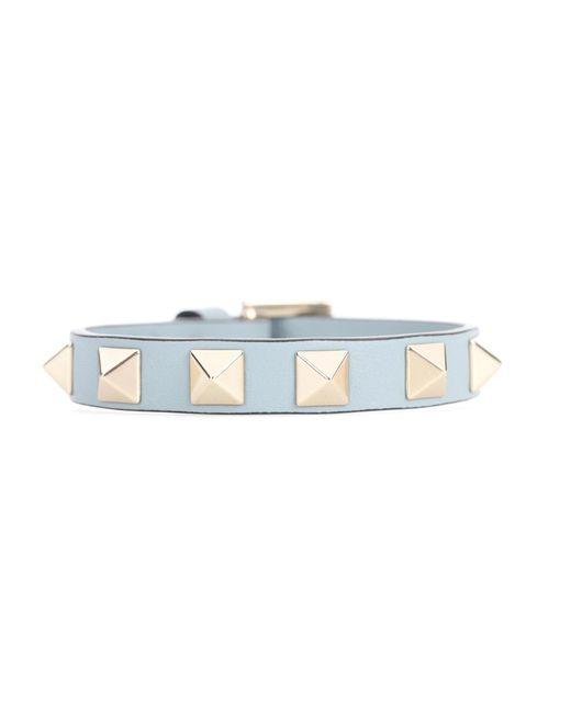 Valentino | Blue Garavani Rockstud Leather Bracelet | Lyst