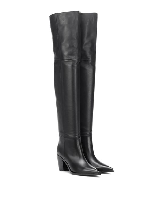 Gianvito Rossi - Black Daenerys Leather Over-the-knee Boots - Lyst