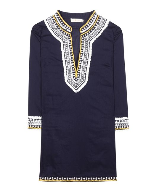 Tory Burch | Blue Embroidered Cotton Tunic | Lyst