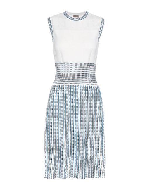 Bottega Veneta - White Knitted Pleated Dress - Lyst
