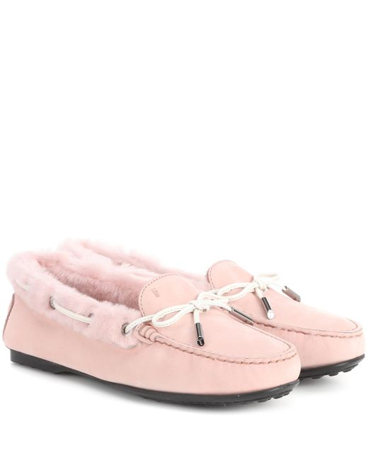 Tod's - Pink City Gommino Suede Loafers - Lyst