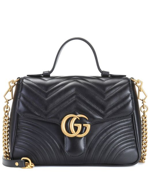 7abf88e23 Gucci GG Marmont Small Top Handle Bag in Black - Save 25% - Lyst